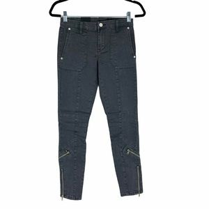 BlankNYC Cargo/Moto Gray Crop Skinny Jeans H120